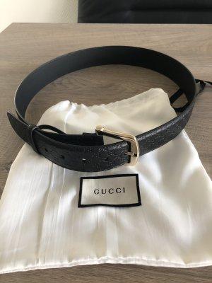 Gucci Ceinture en cuir noir-doré