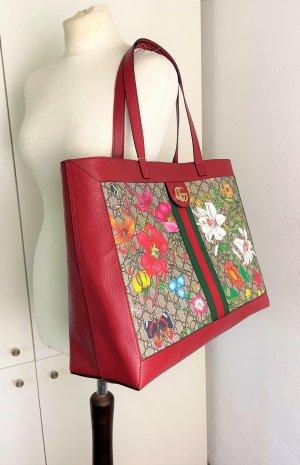 "* GUCCI * NEU ! XL SHOPPER ""Ophidia Flora"" Leder rot canvas beige Guccissima Blumen"