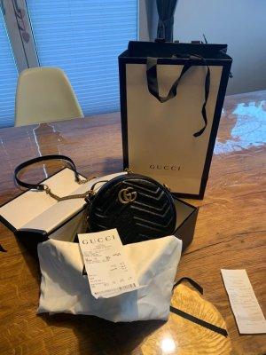 Gucci Nosiz schwarz Leder GG Marmont Mini Rund Schultertasche neu