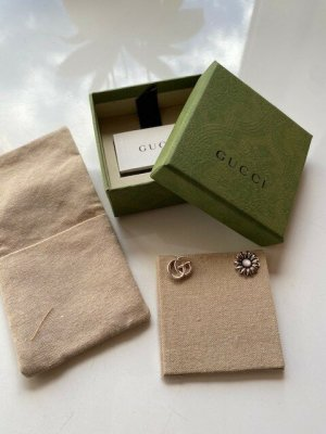 Gucci Clou d'oreille argenté soie
