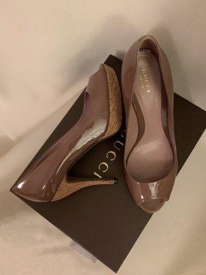 Gucci Original NP 790€ Plateau Peeptoes Pumps Kork High Heels Vernice Crystal Pink Tan Lackleder Patent Leather Echtleder Beige Dunkelbeige Mokka