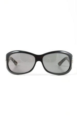 Gucci ovale Sonnenbrille schwarz-hellgrau schlichter Stil