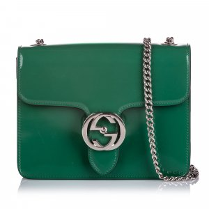 Gucci Patent Leather Interlocking Chain Crossbody Bag