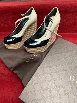 Gucci Wedge Pumps white-black leather