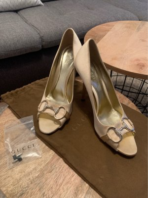 Gucci Peep Toe Pumps cream-gold-colored