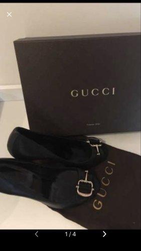 Gucci Peep Toe Pumps zwart-goud