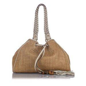 Gucci Peggy Raffia Shoulder Bag