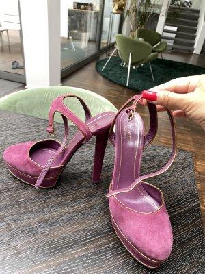 Gucci Plateau Veloursleder High Heels Gr.38,5