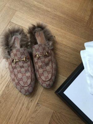 Gucci Scarpa slip-on marrone chiaro-ruggine Tessuto misto