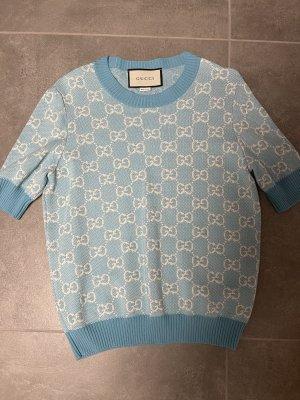 Gucci Blouse Shirt white-neon blue wool