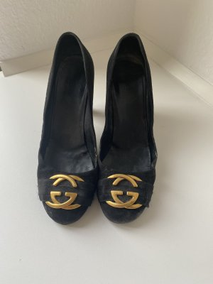 Gucci Backless Pumps black-gold-colored