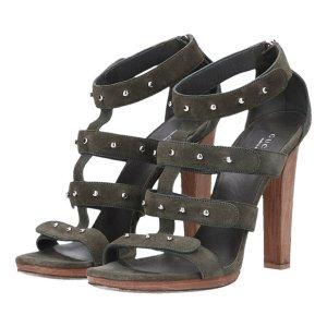 Gucci Pumps Sandaletten High Heels Gr. 41 aus Suede Leder in grün