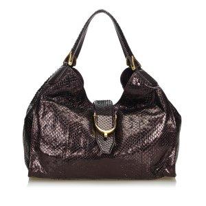 Gucci Shoulder Bag dark brown reptile leather