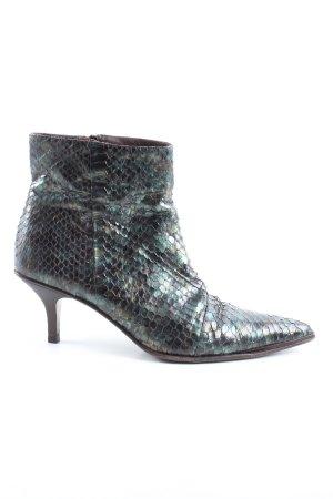 Gucci Reißverschluss-Stiefeletten türkis-schwarz Allover-Druck Elegant