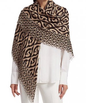 Gucci Rhombus wool scarf beige/dark Brown