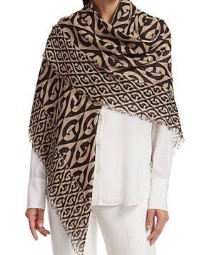 Gucci Wełniany szalik beżowy-ciemnobrązowy