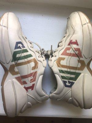 Gucci Rhyton sneaker beige 37 Leder offwhite Blogger Schuhe Glitzer rainbow 36.5
