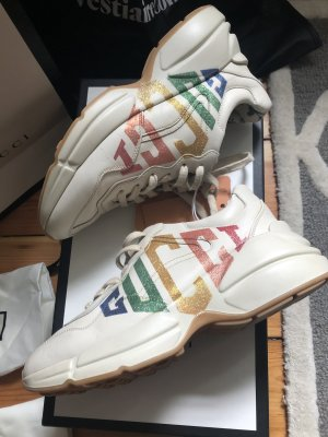 Gucci rhyton Sneaker Leder Logo holograph bunt glitter 37 neuwertig