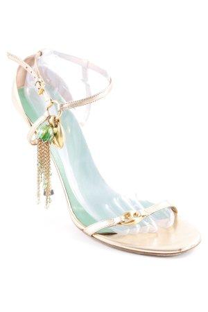 Gucci Riemchen-Sandaletten goldfarben-grün Elegant
