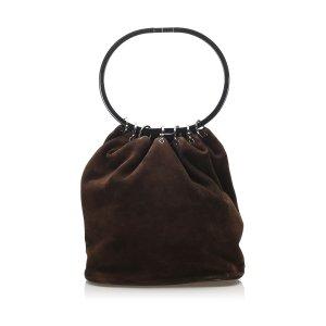 Gucci Ring Handle Suede Handbag