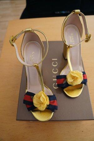 Gucci Sandalen gold 37,5 High Heels Abendsandalen Oper Luxus NP 730€ Sylvie