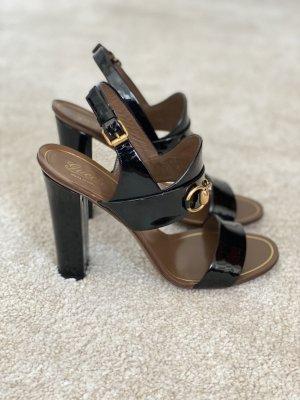 Gucci Sandały z rzemykami czarny-złoto Skóra