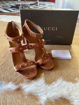 Gucci Sandalen Sandals High Heels Schuhe Damen Tabacco braun Gr 40 KP 495€