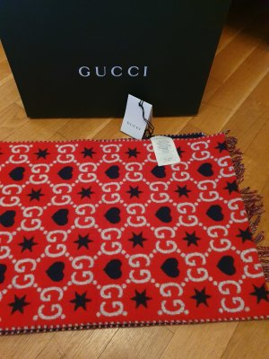 Gucci Wełniany szalik czerwony-niebieski