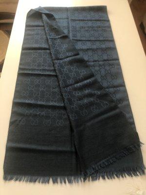 Gucci Écharpe en cachemire bleu foncé-noir