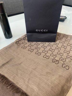 Gucci Écharpe en laine gris brun-brun noir