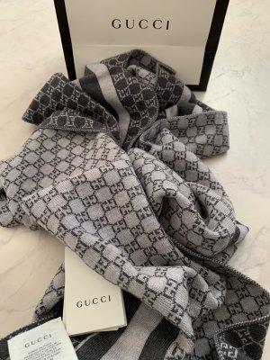 Gucci Écharpe en laine gris foncé-gris clair