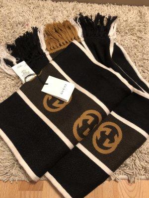 Gucci Wełniany szalik czarny-brązowy