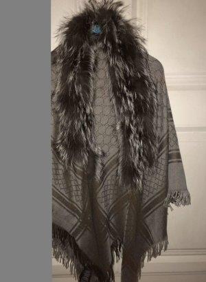 Gucci Sciarpa di lana marrone-grigio
