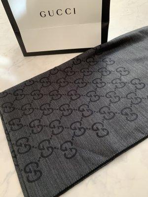 Gucci Écharpe en laine noir-gris foncé