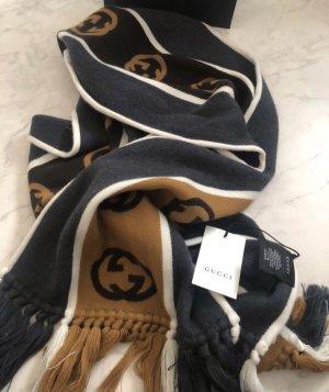 Gucci Écharpe en laine gris foncé-brun noir