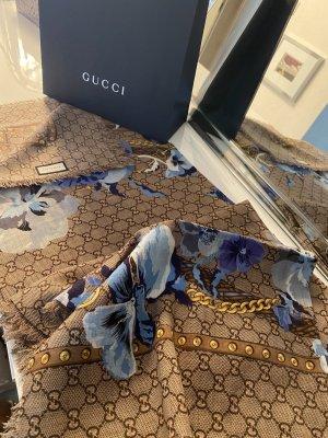 Gucci Bufanda de seda beige-azul