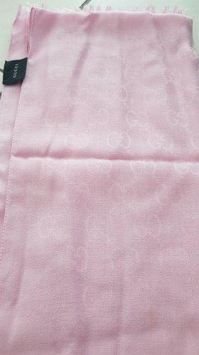 Gucci Schal / Tuch in GG Monogram mit Fransen in rosa