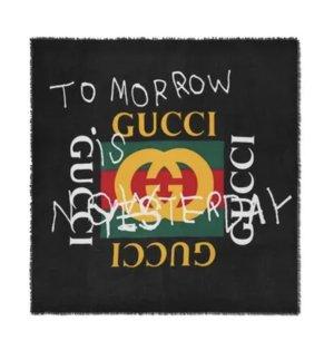Gucci Jedwabny szal czarny