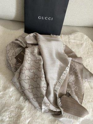 Gucci Sciarpa di seta beige chiaro-color cammello