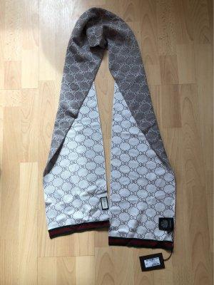 Gucci Bufanda de lana marrón grisáceo-blanco puro