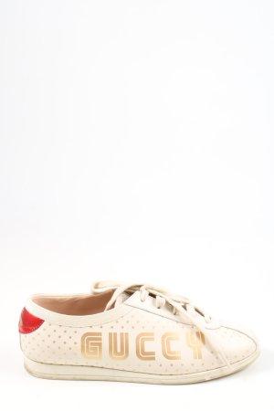 Gucci Schnürsneaker wollweiß Schriftzug gedruckt Casual-Look