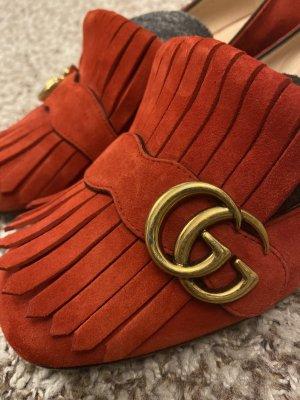 Gucci Moccasins brick red suede