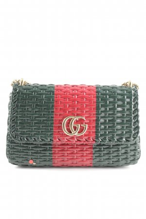 "Gucci Sac porté épaule ""Gucci Wicker Shoulder Bag  Green/Red"""