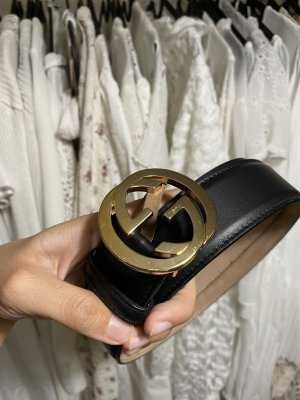Gucci schwarzer originaler Signature Gürtel Ledergürtel gold GG