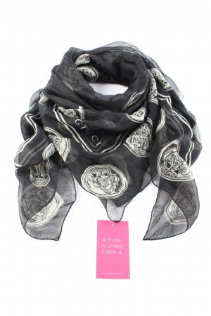 Gucci Foulard en soie noir-blanc imprimé allover style décontracté