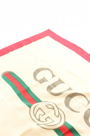 Gucci Seidentuch blassgelb-rot Motivdruck Business-Look