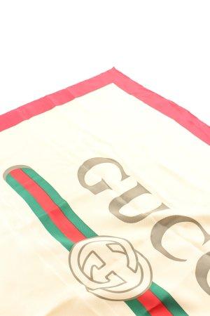 Gucci Pañuelo de seda amarillo pálido-rojo estampado temático