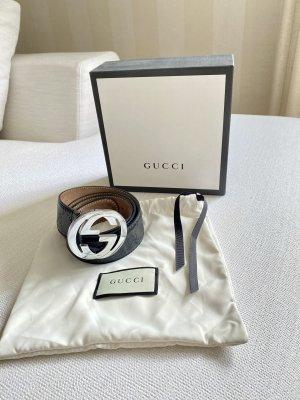 Gucci Ceinture en cuir noir-argenté