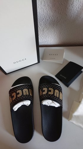 Gucci Slippers black-gold-colored