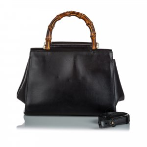 Gucci Small Bamboo Leather Nymphaea Satchel